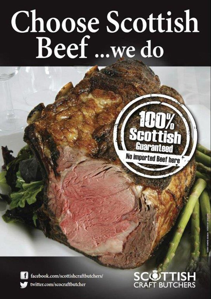 View of Scottish Beef at Bel's butchers