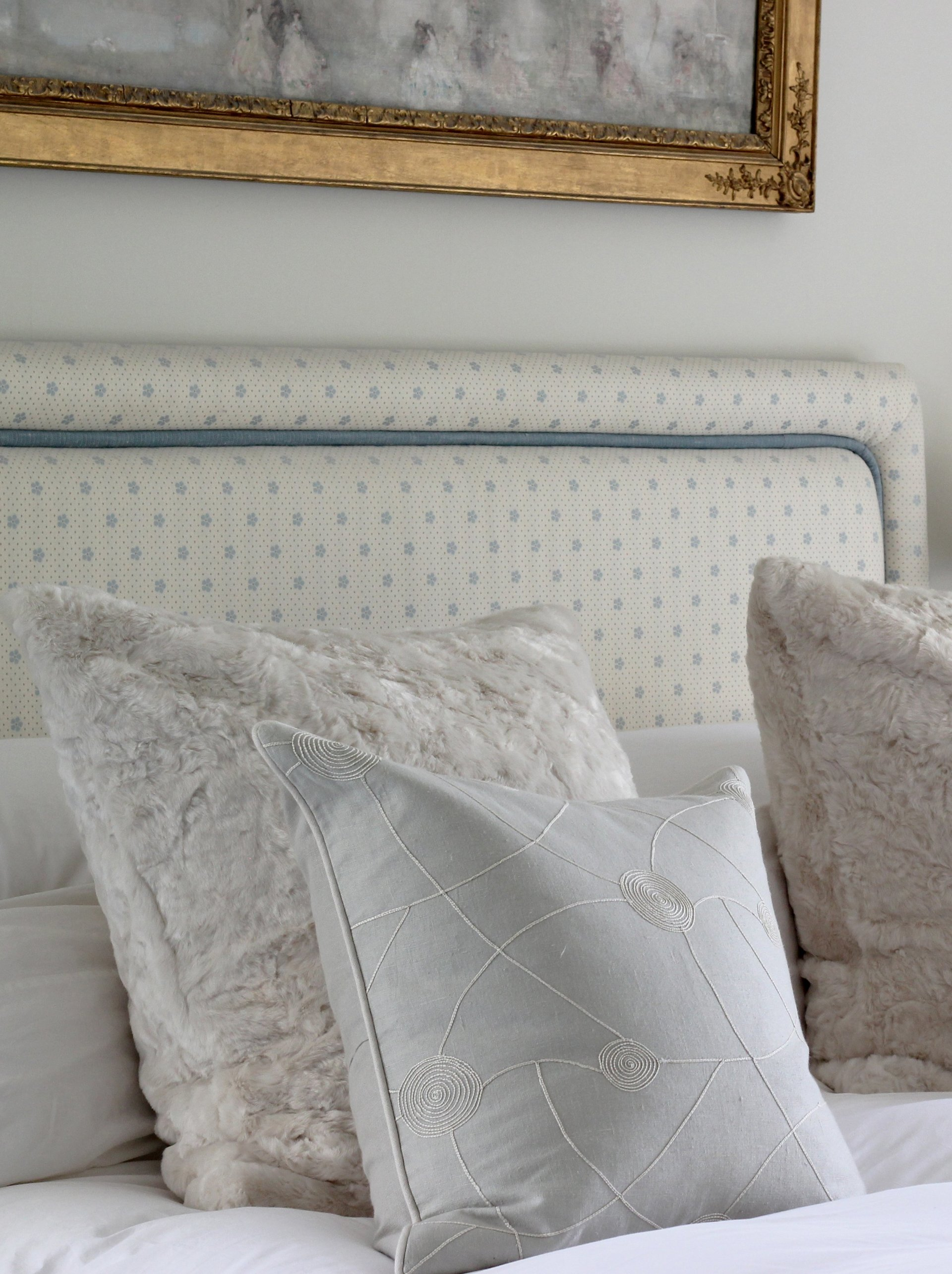 bed and cushions