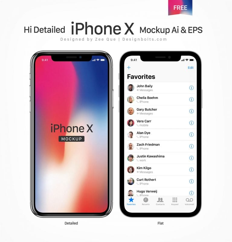 10 Free Photoshop Sketch and Illustrator iPhone X Mockups
