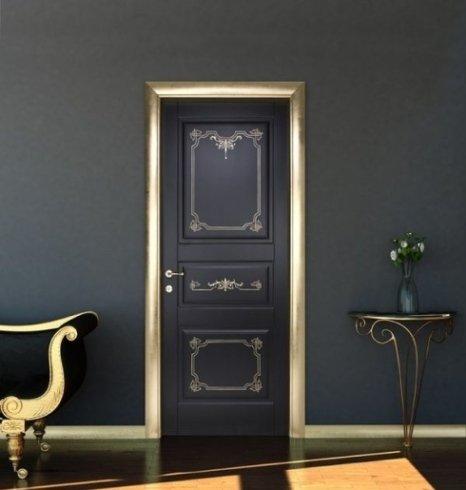 porte con decori sorati, porte nere, porte design