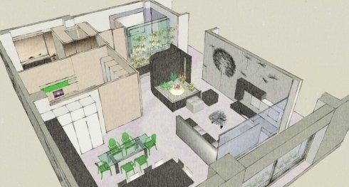 proposta progettuale zona espositiva per negozio di arredamento
