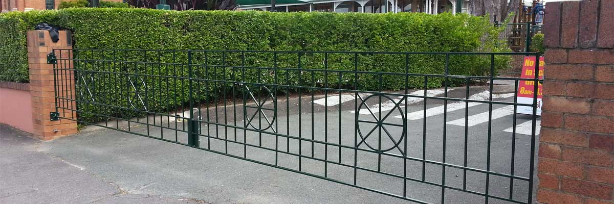sureline fencing green steel long gate
