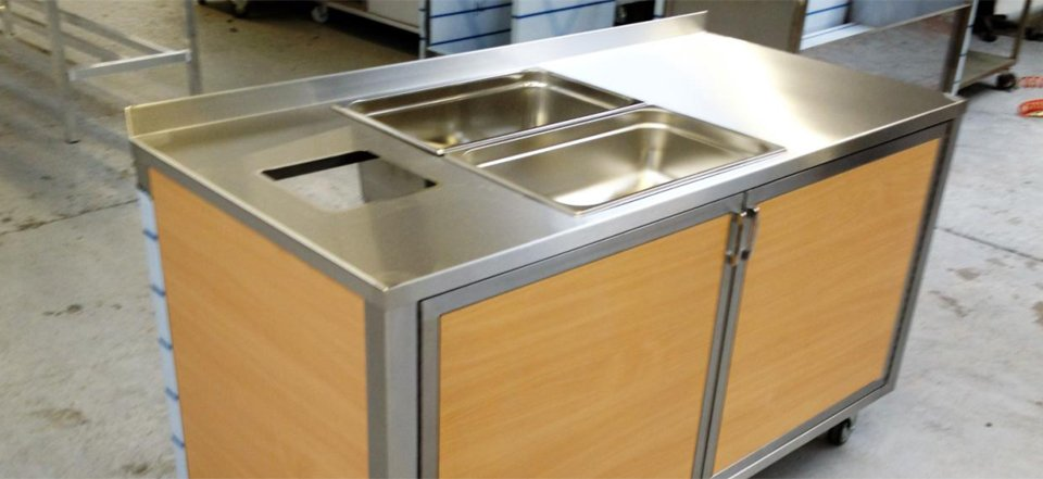 wood and stainless serving unit