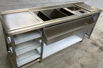 stainless steel unit awaiting finishing