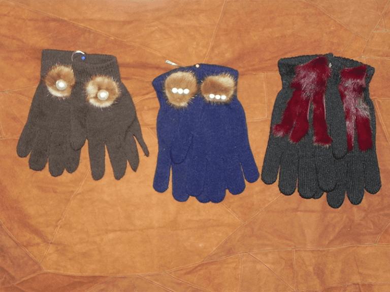 Guanti lana e pelliccia