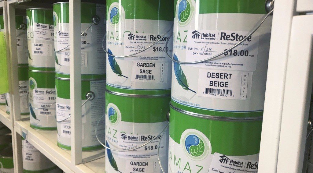 Amazon Recycled Paint, now available at the Habitat for Humanity ReStore in Riverside.