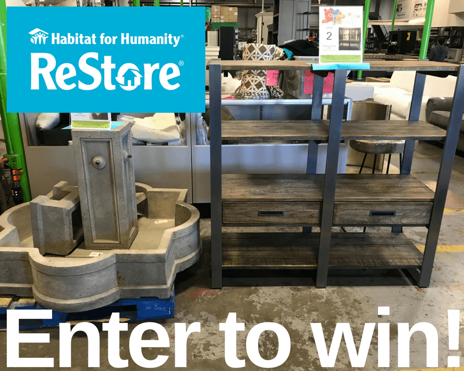 Opportunity Drawing- Win a Fountain or a Storage Shelf by shopping or donating to the Riverside ReStore