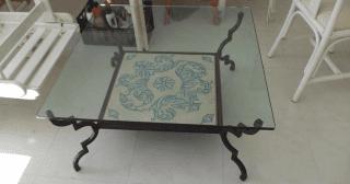 tavolino in vetro e ferro battutto