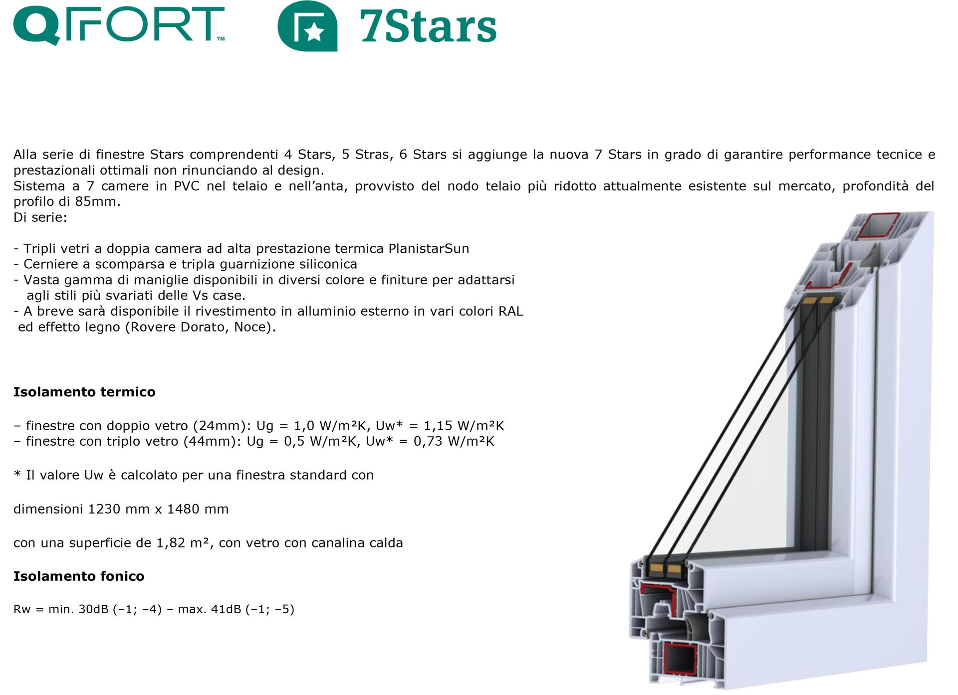 infisso in pvc qfort serie stars