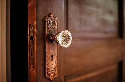 fancy polished door knob wood