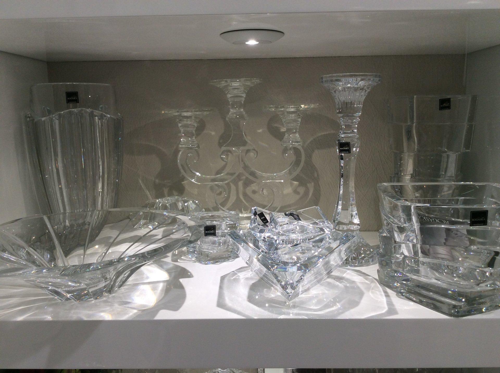 servizio da dessert e candelabro in vetro