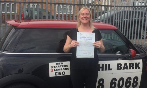 lady with her learners certificate