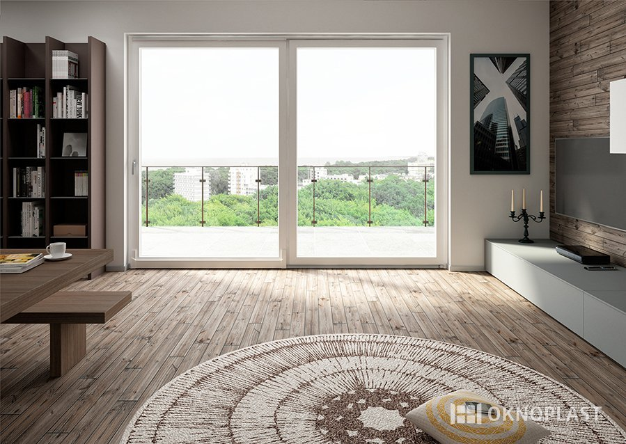 soggiorno moderno con finestra in PVC e arredamento