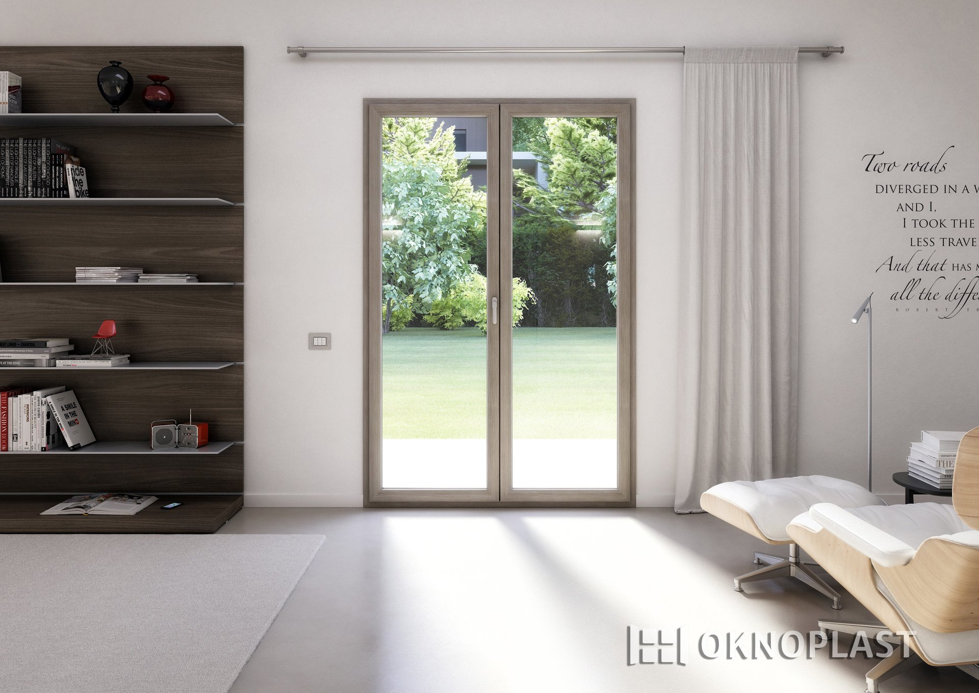 una stanza con finestra in PVC e scaffale in legno con oggetti