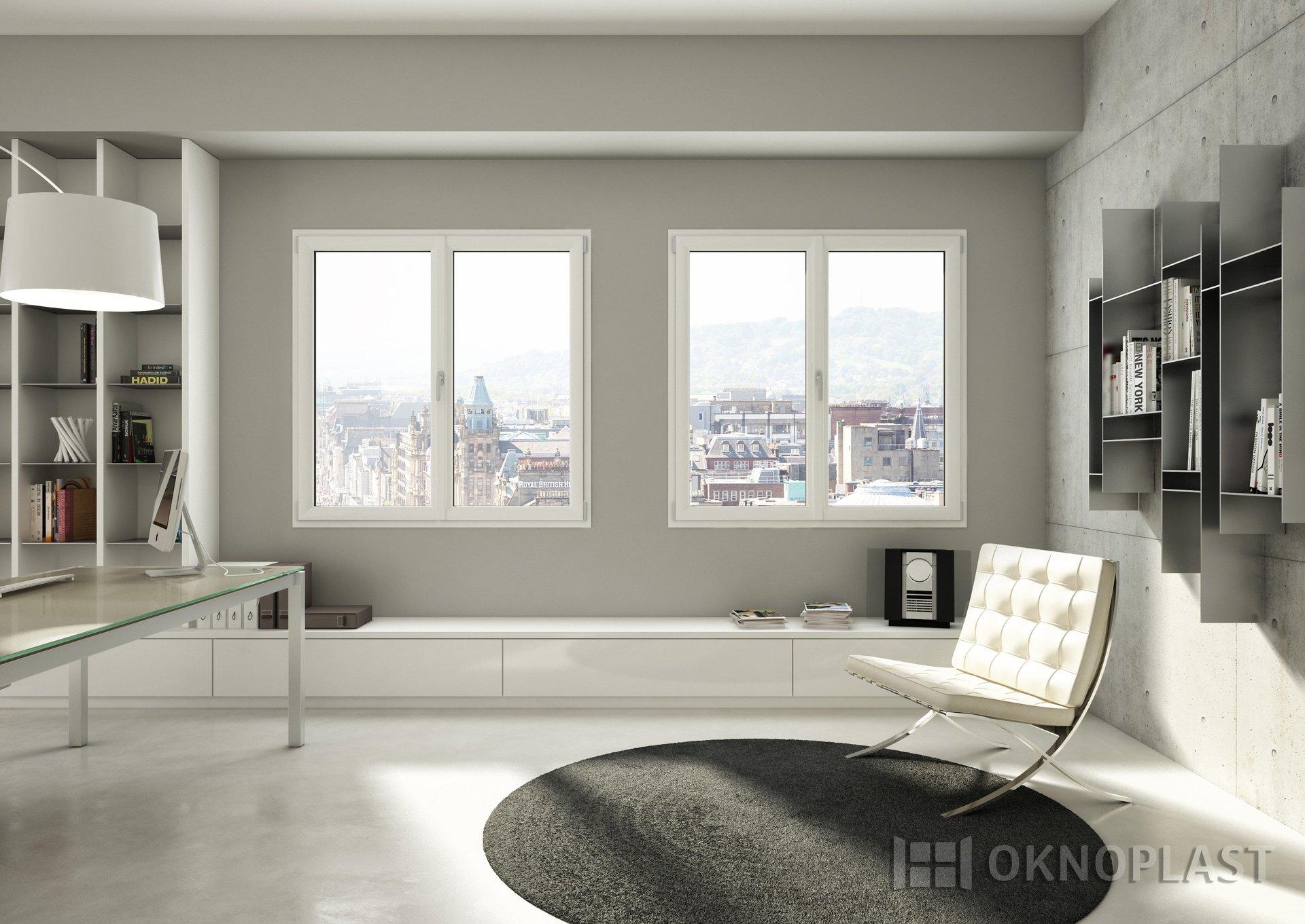 vista interna di una stanza con finestre Oknoplast