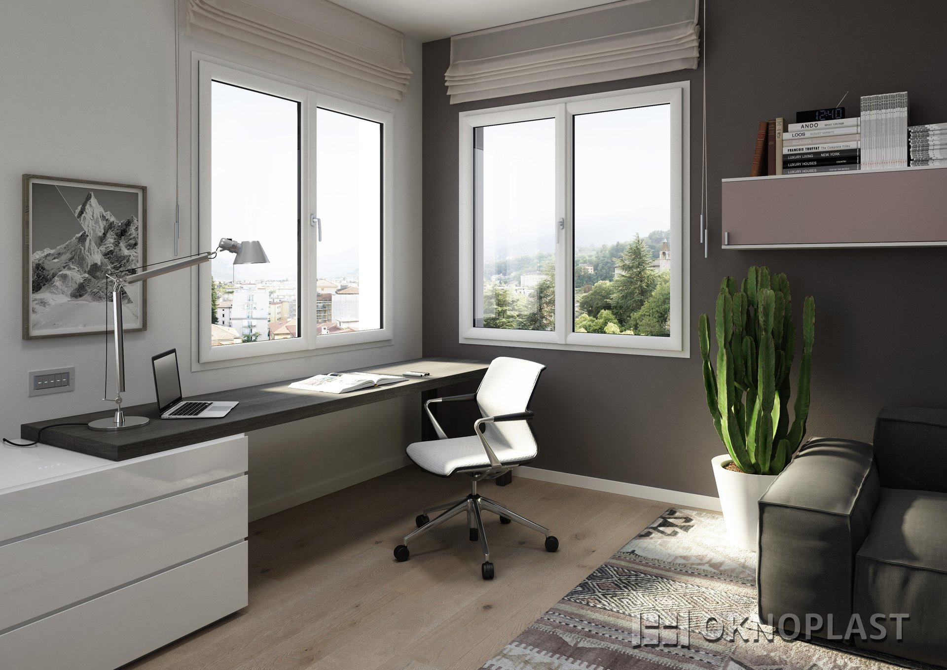 soggiorno moderno con sedia, portatile, divano, finestre in vetro e arredamento