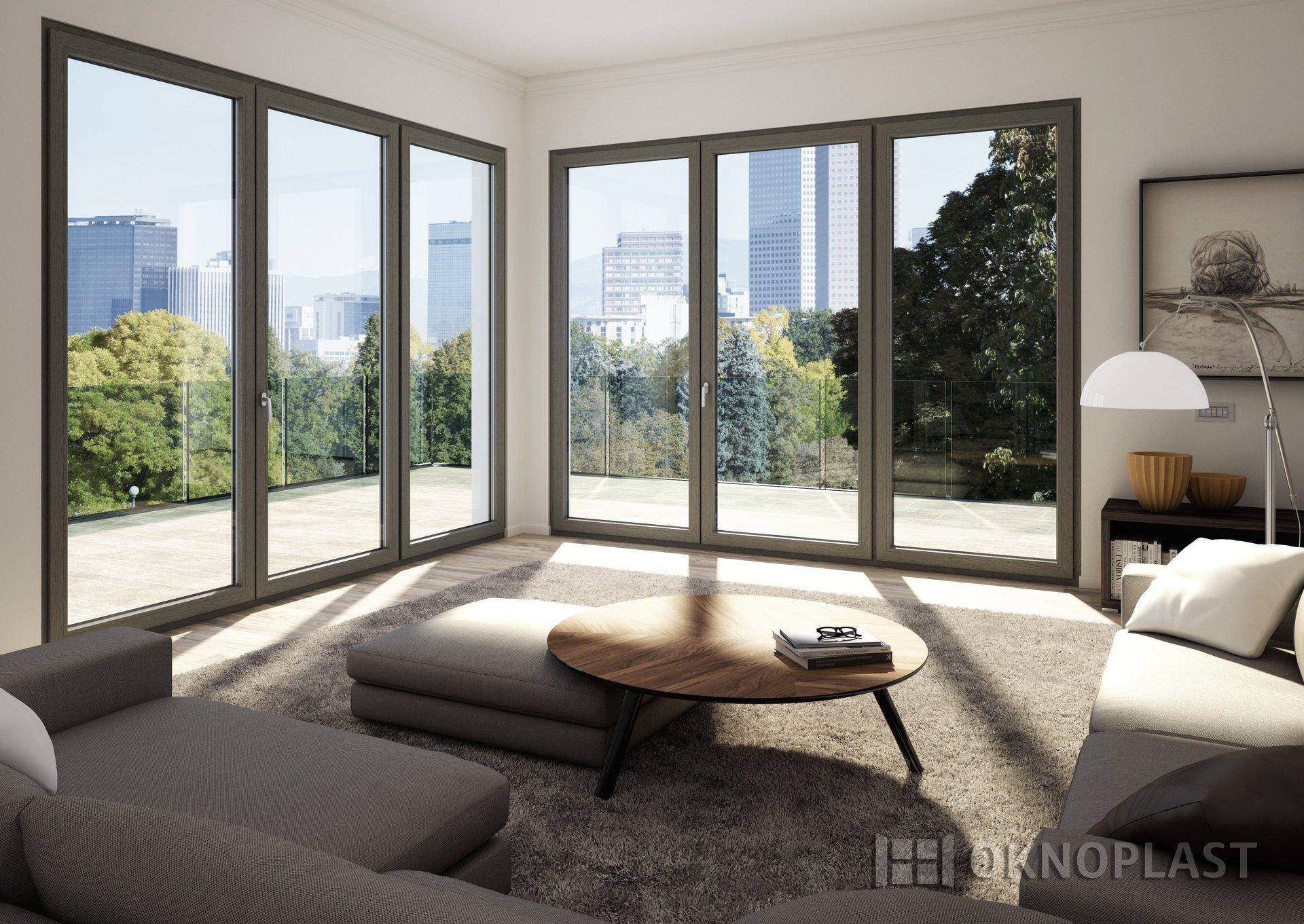 arredamento di soggiorno moderno con infissi in PVC