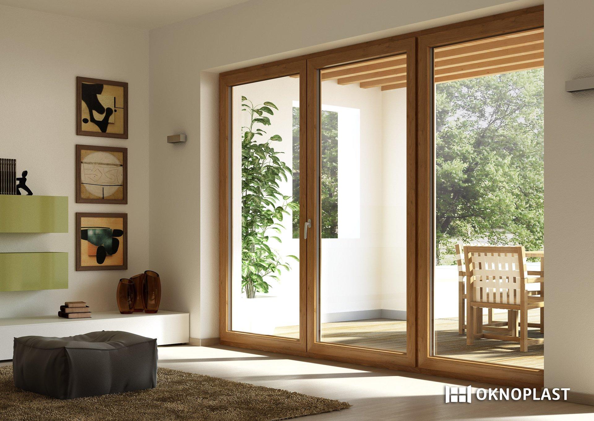 vista interna di un soggiorno con infissi in PVC-Oknoplast
