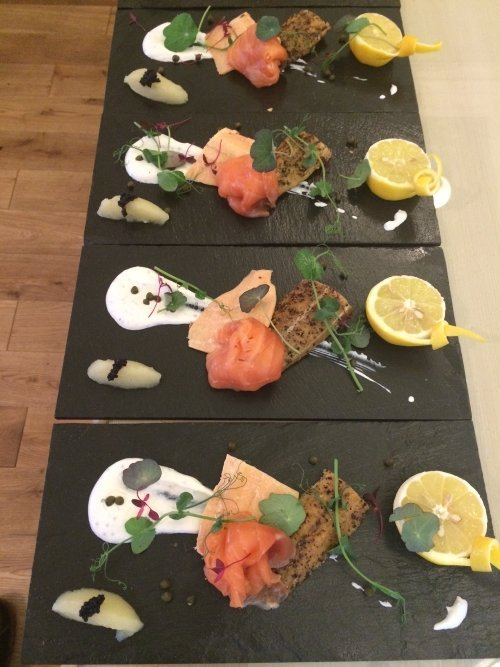 Salmon starter, continuity of presentation, Red Poppy Catering