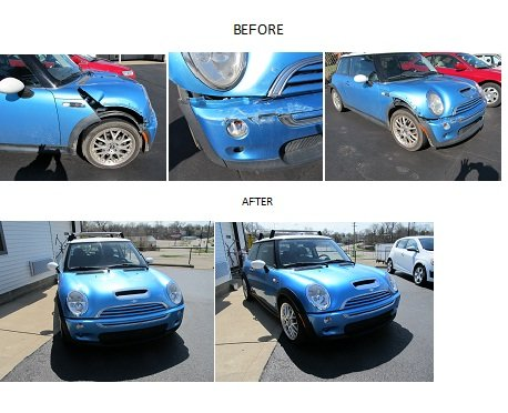 before and after blue car