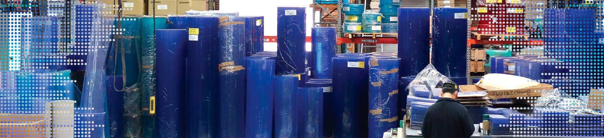 large pvc rolls in warehouse