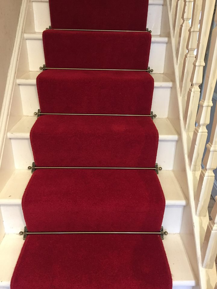 red staircase carpet