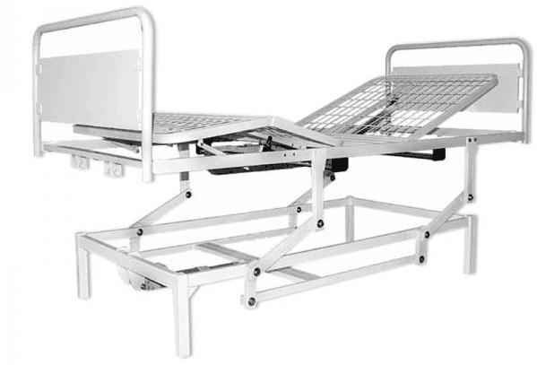 Letto elettrico ortopedico a tre snodi e quattro sezioni con sponde ribaltabili
