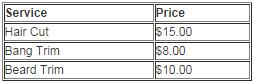 Men & Children price list
