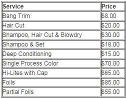 Women price list
