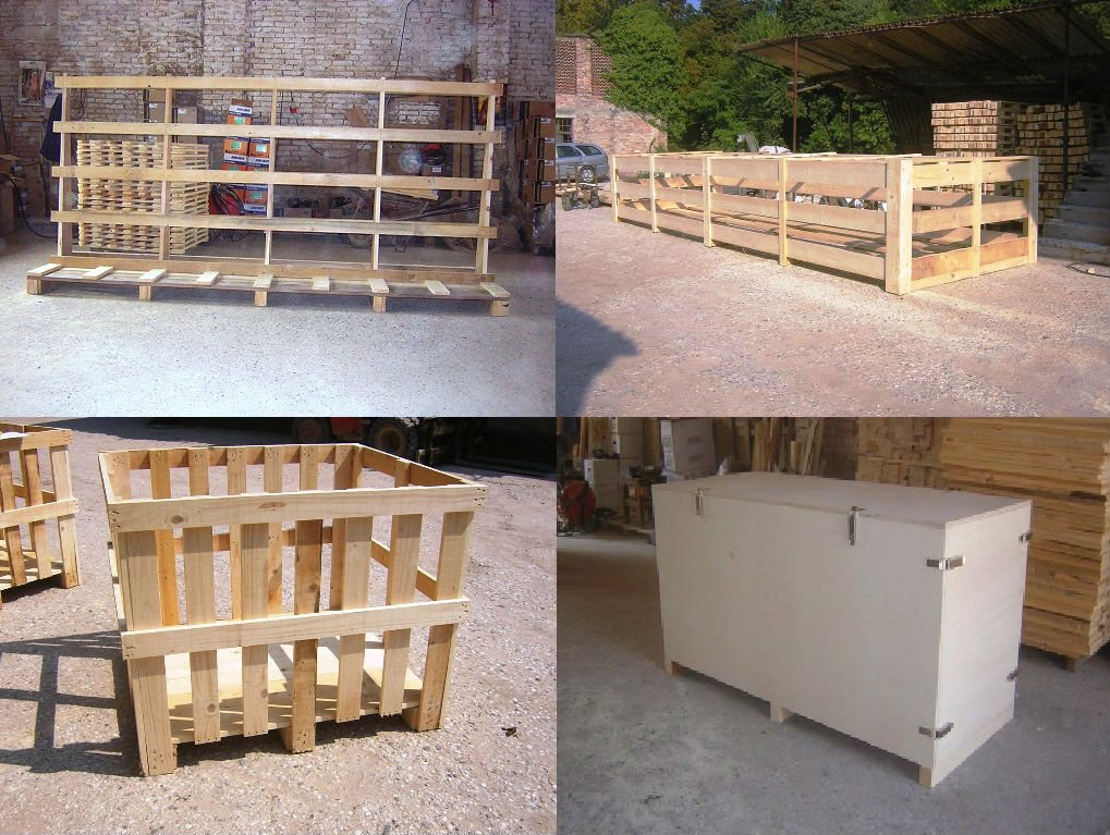 delle gabbie in legno e un mobiletto bianco