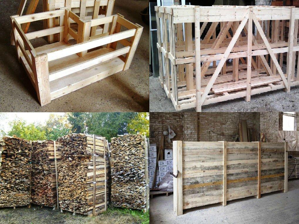 delle gabbie in legno e pezzi di legno