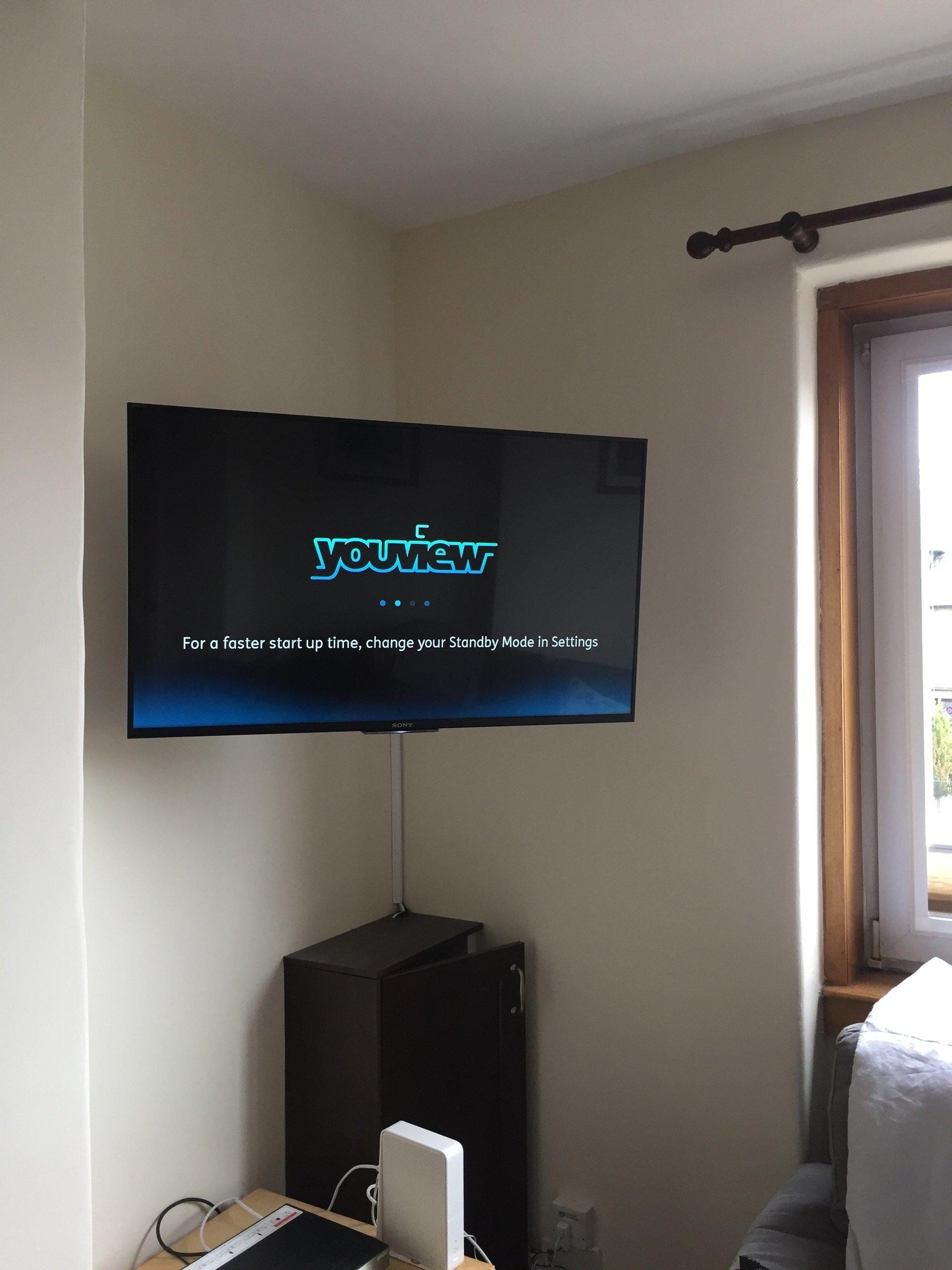 corner tv wall installation