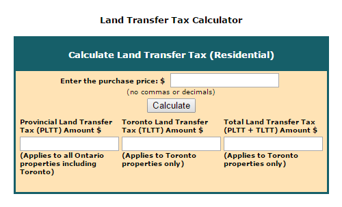 Land Transfer Tax online Calculator