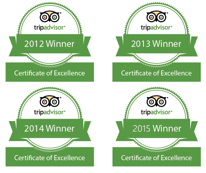Trip Advisor Certificate of Excellence Award Winner - 2012, 2013, 2014, 2015