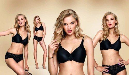 una modella con biancheria intima di color nero