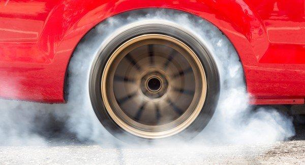 Drag racing car burn tire for the race