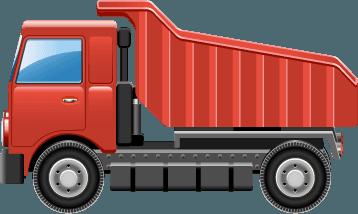 A red concrete tipper truck