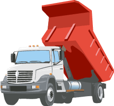 A tipper truck making a delivery