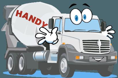 A cartoon Handy Concrete mixer truck