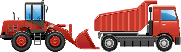 A tipper truck and forklift truck