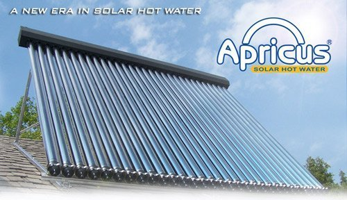 Large Apricus solar water heater installed outside