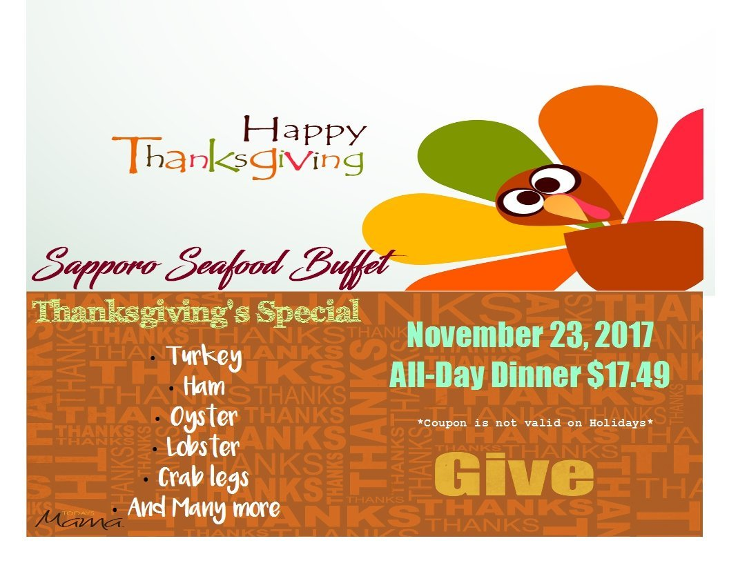 Thanksgiving Day at Sapporo Seafood Buffet