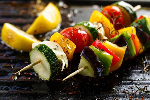 View of fresh vegetables in wooden skews