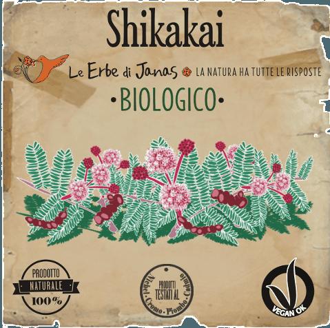 l'etichetta con scritto shikakai le erbe di janas