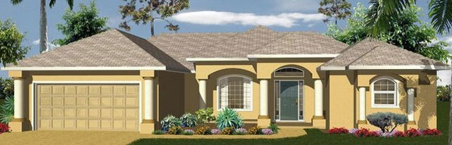 Dali style newly built home model with 2 car garage. It's yellow with a shingled roof.