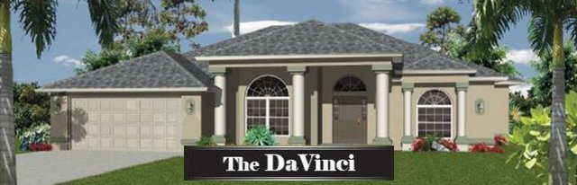 Newly built 2,230 Sq. Ft. Da Vinci home. It's tan with grey shingles and has an attached garage.