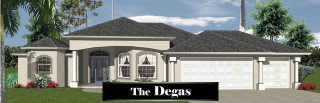 Degas style, 1 story home model with 3 car garage.