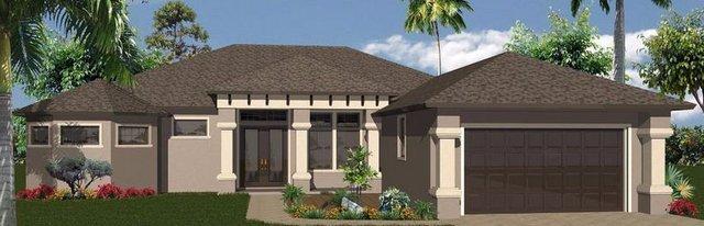 Custom built new home. Tan with dark brown roof.