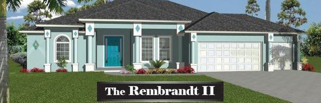 Rembrandt style 1 story home with 3 car garage. It's green with a shingled roof.