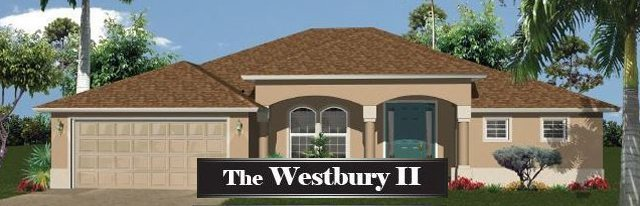 Westbury style home with a 2 car garage. The house is tan with a shingled roof.